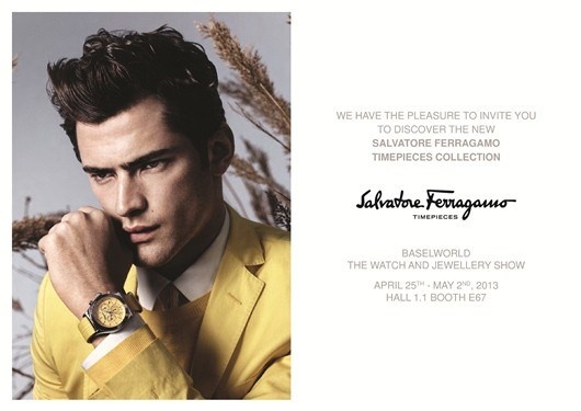 Invitation to the Ferragamo Watch Exhibit, April 25 - May 2, 2013 at Baselworld 2013, Hall 1.1, Booth E-67